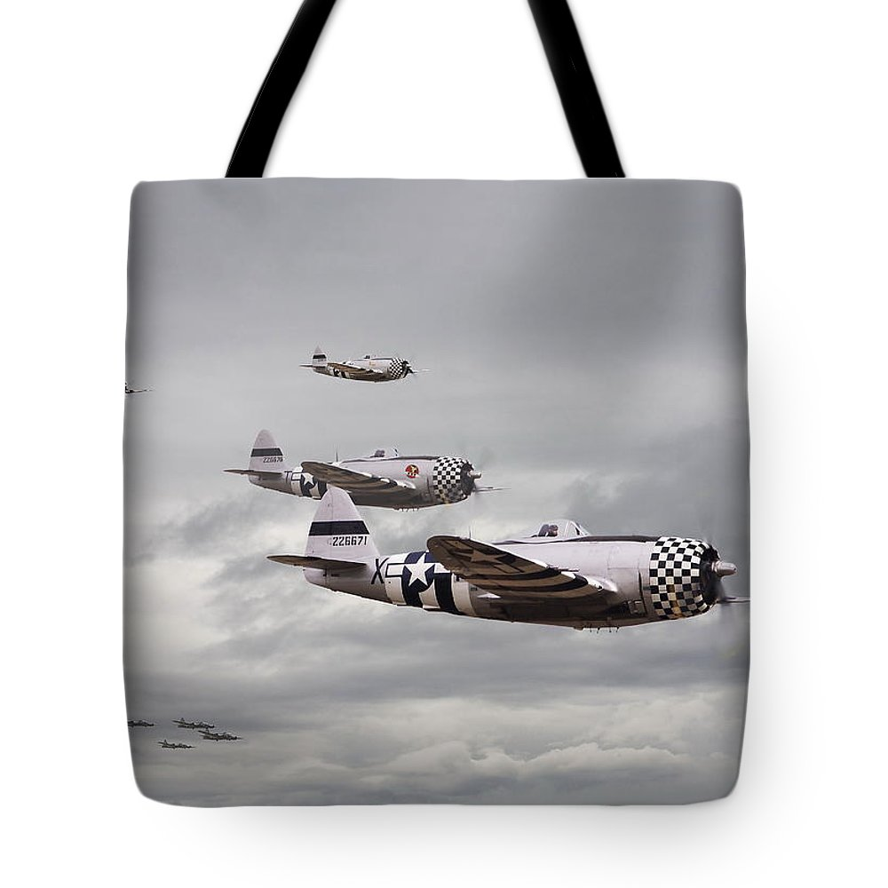 Aircraft Tote Bag featuring the photograph P47 Thunderbolt Top Cover by Pat Speirs