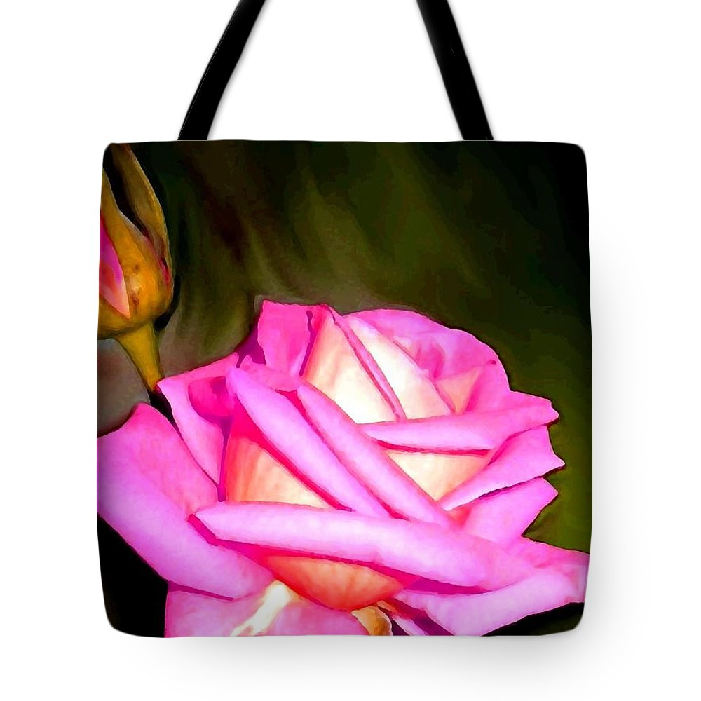 Painted Pink Rose Tote Bag featuring the digital art Painted Pink Rose by Will Borden