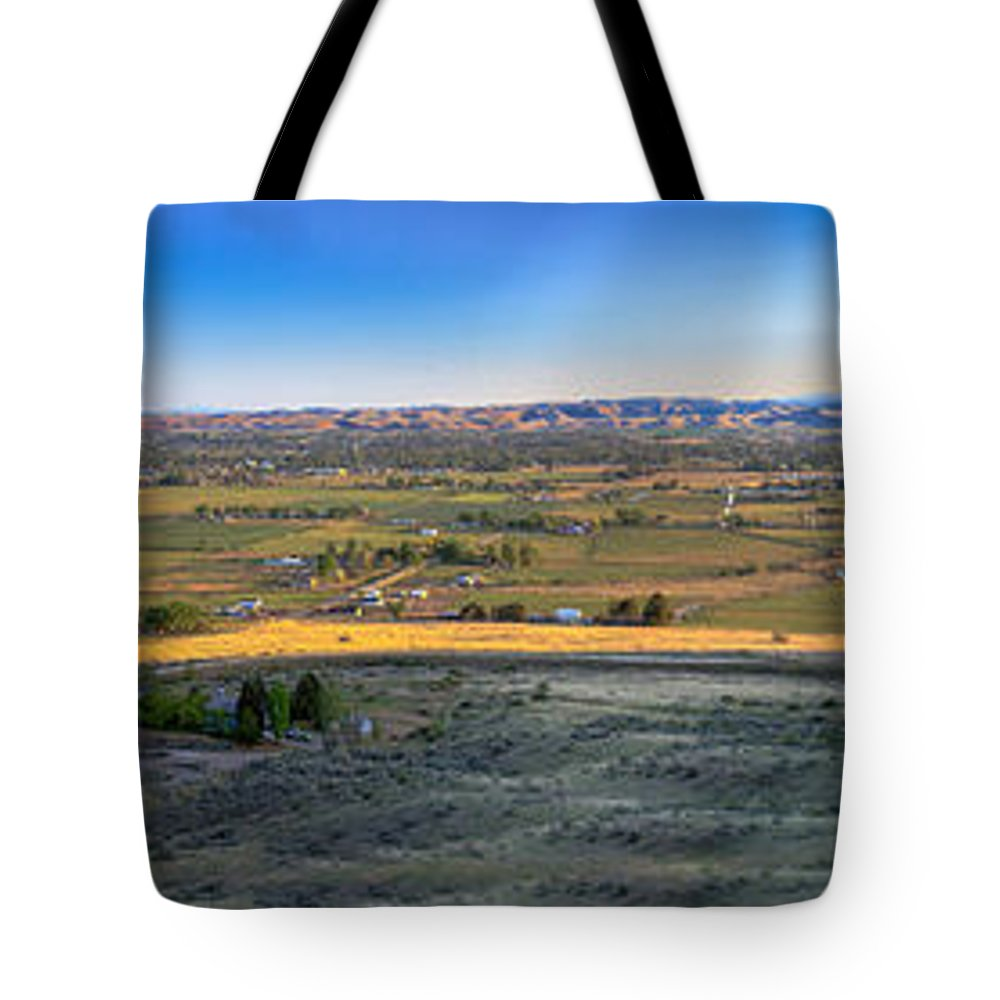 Landsacape Tote Bag featuring the photograph Panoramic Emmett Valley by Robert Bales