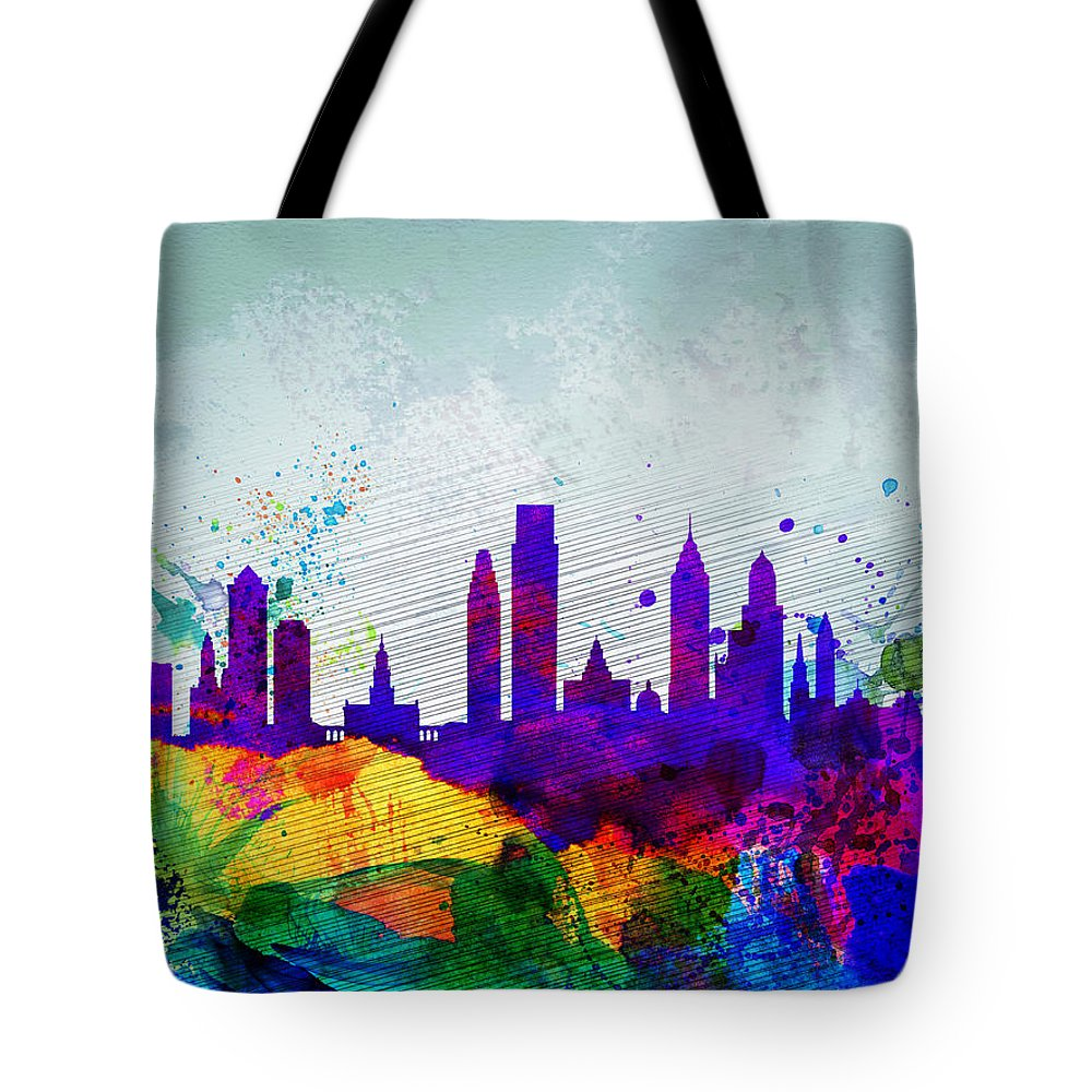Philadelphia Tote Bag featuring the painting Philadelphia Watercolor Skyline by Naxart Studio