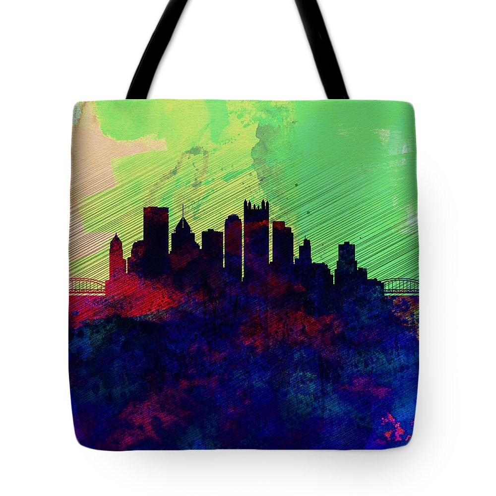 Pittsburgh Tote Bag featuring the painting Pittsburgh Watercolor Skyline by Naxart Studio