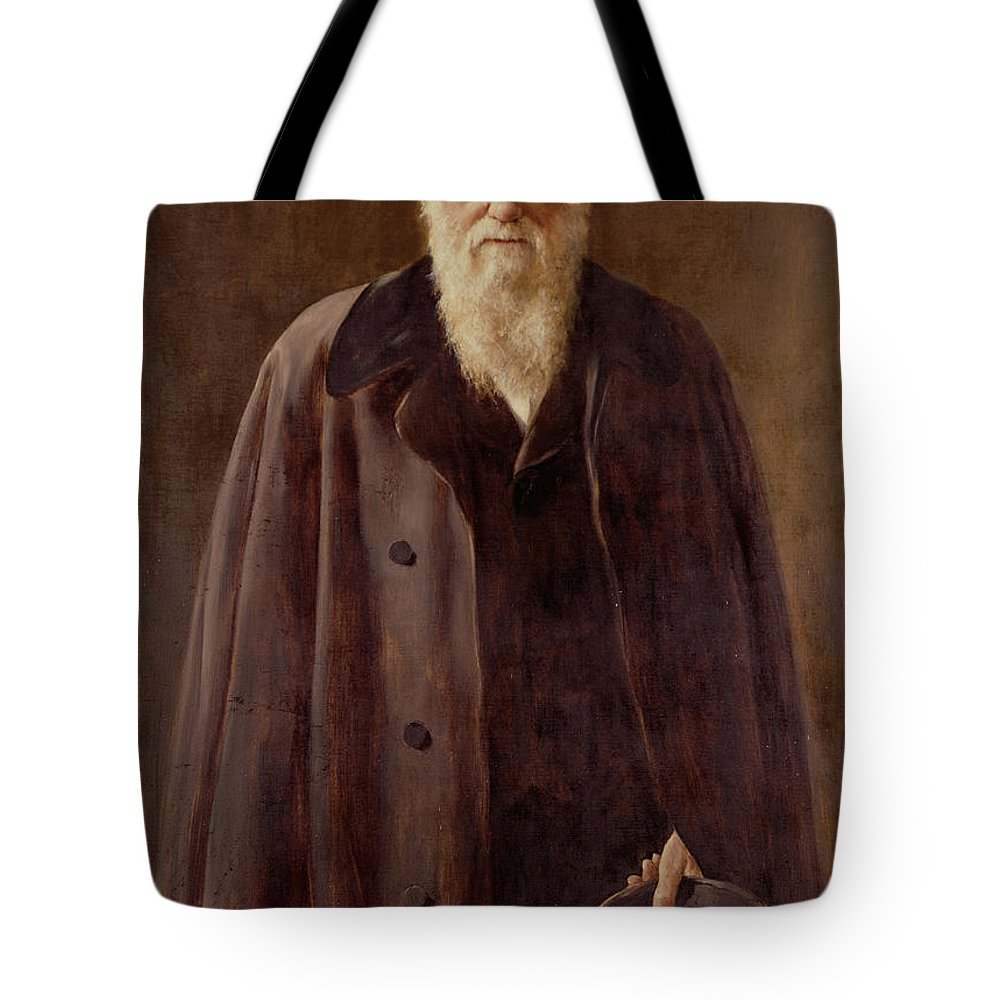 Male; Hat; Coat; White Beard; Scientist; Three-quarter Length; Serious; Science; Medicine; Zoology; Victorian; Pioneer; Evolution Tote Bag featuring the painting Portrait Of Charles Darwin by John Collier