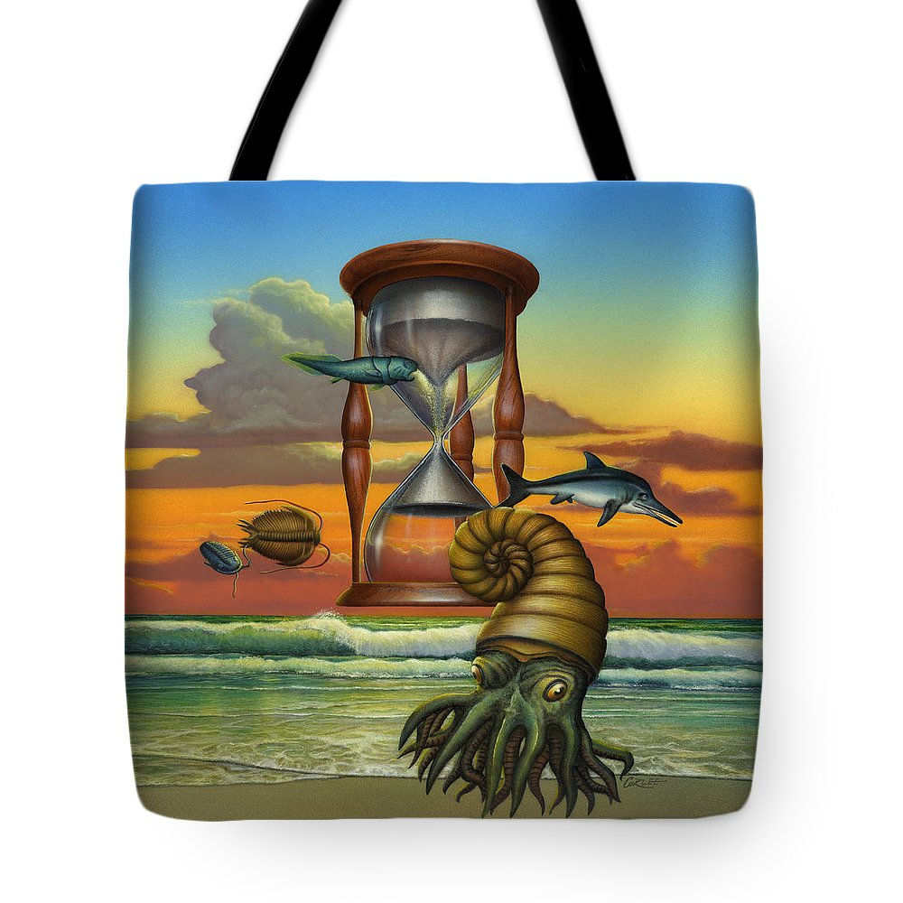 Prehistoric Animals Tote Bag featuring the painting Prehistoric Animals - Beginning Of Time Beach Sunrise - Hourglass - Sea Creatures Square Format by Walt Curlee