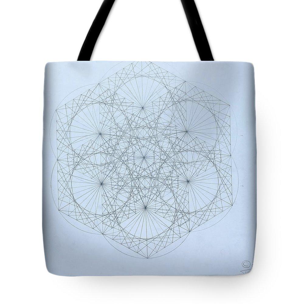 Jason Padgett Tote Bag featuring the drawing Quantum Snowflake by Jason Padgett
