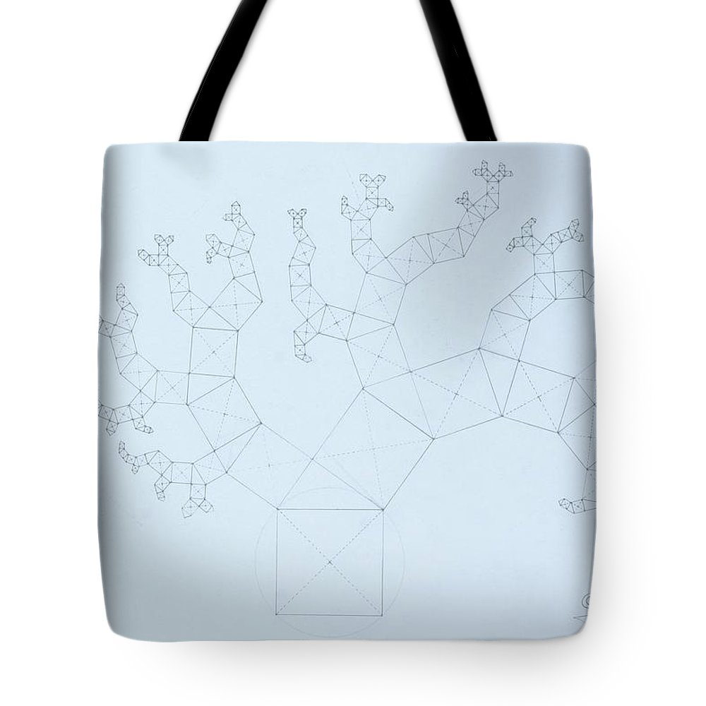 Fractal Tree Tote Bag featuring the drawing Quantum Tree by Jason Padgett