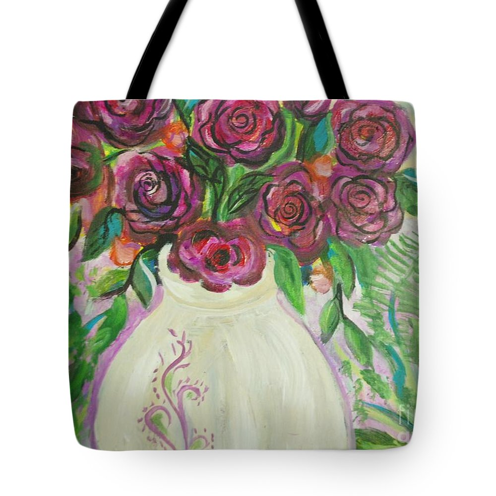 Roses Tote Bag featuring the painting Roses For Friends by Aldonia Bailey