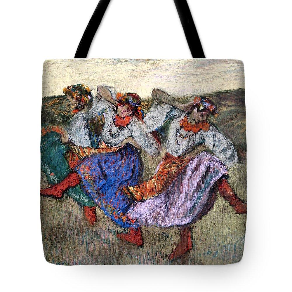Edgar Degas Tote Bag featuring the drawing Russian Dancers by Edgar Degas