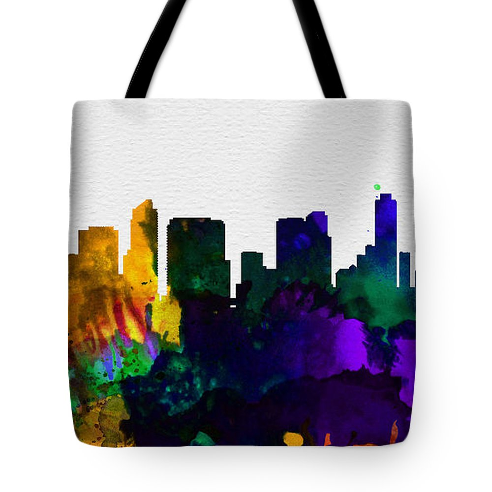 San Diego Tote Bag featuring the painting San Diego City Skyline by Naxart Studio