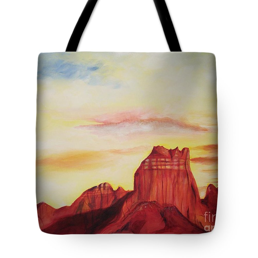 Western Tote Bag featuring the painting Sedona Az by Eric Schiabor