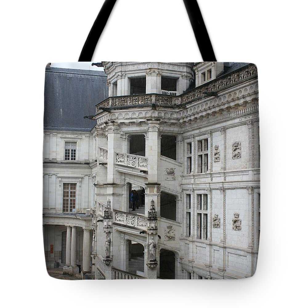 Stairs Tote Bag featuring the photograph Spiral Staircase In The Francois I Wing - Chateau Blois by Christiane Schulze Art And Photography