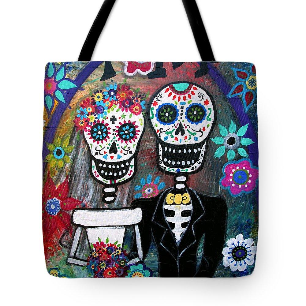 Te Amo Tote Bag featuring the painting Te Amo Wedding Dia De Los Muertos by Pristine Cartera Turkus