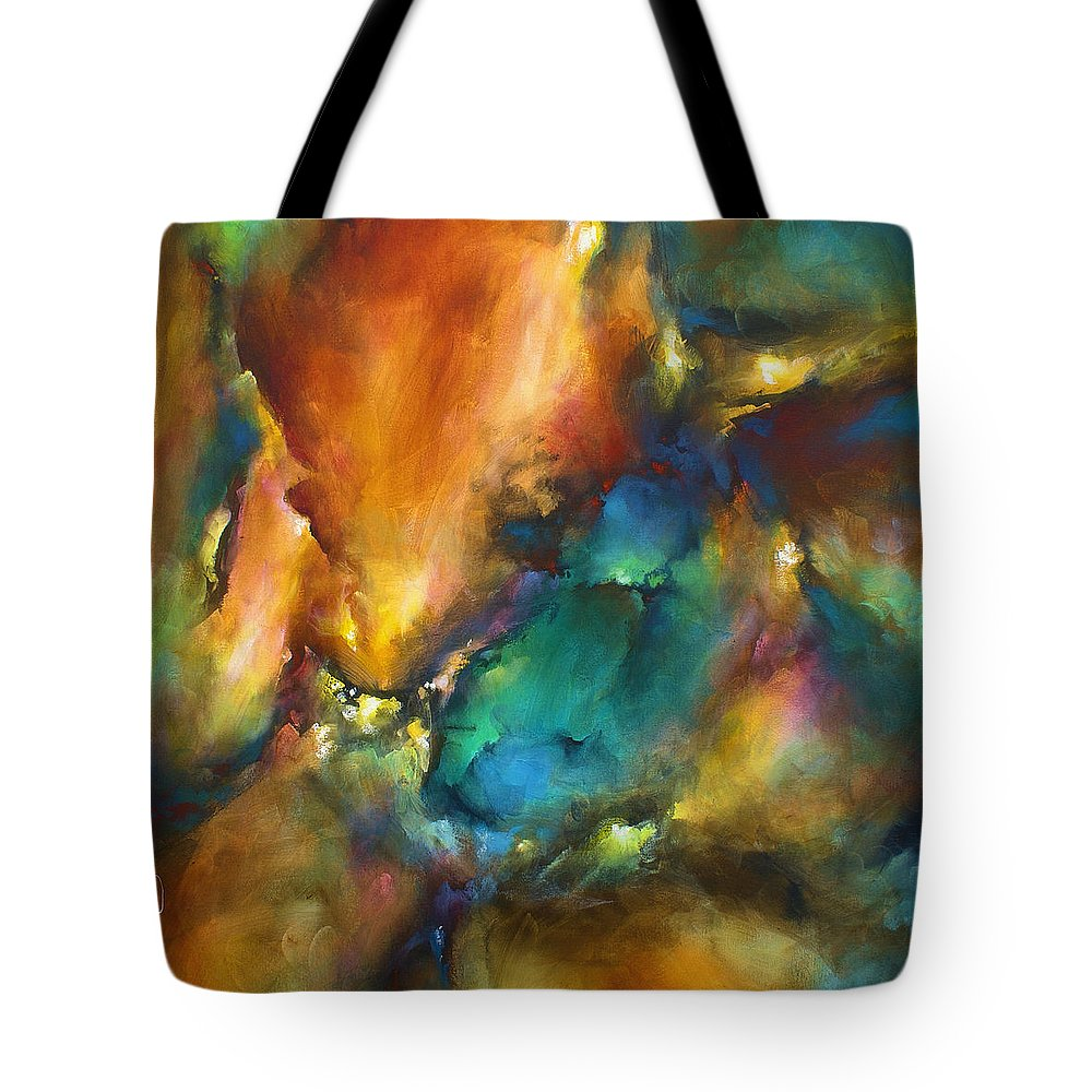 Abstract Tote Bag featuring the painting 'The Edge 2' by Michael Lang