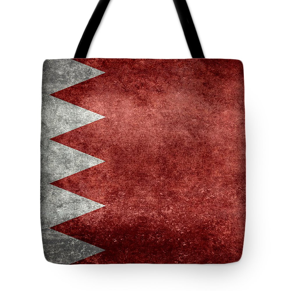 Red Tote Bag featuring the digital art The Flag Of The Kingdom Of Bahrain Vintage Version by Bruce Stanfield