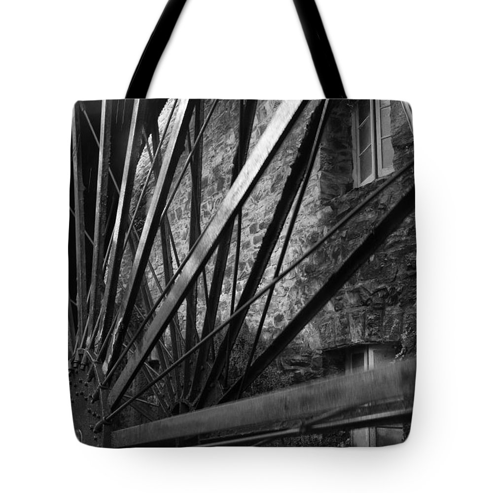 Old Tote Bag featuring the photograph The Old Mill-black And White by Douglas Barnard