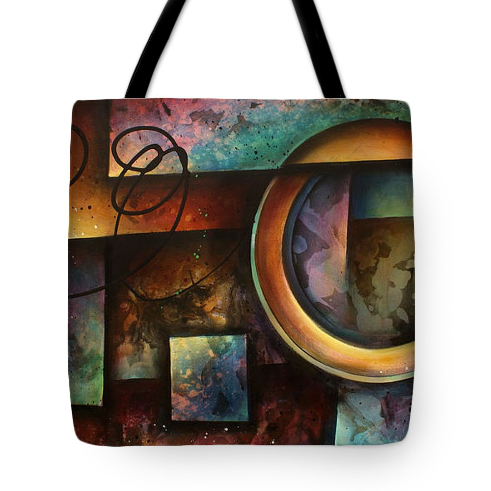 Abstract Tote Bag featuring the painting ' The Rift ' by Michael Lang