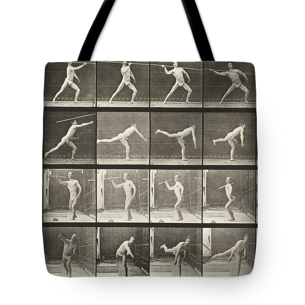 Multiple Exposure Tote Bag featuring the photograph Throwing Spear by Celestial Images