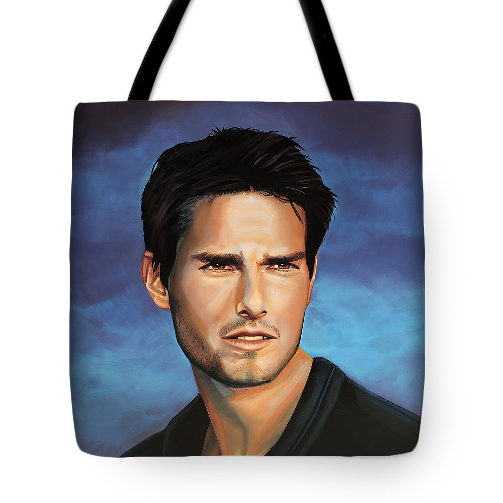 Tom Cruise Tote Bag featuring the painting Tom Cruise by Paul Meijering