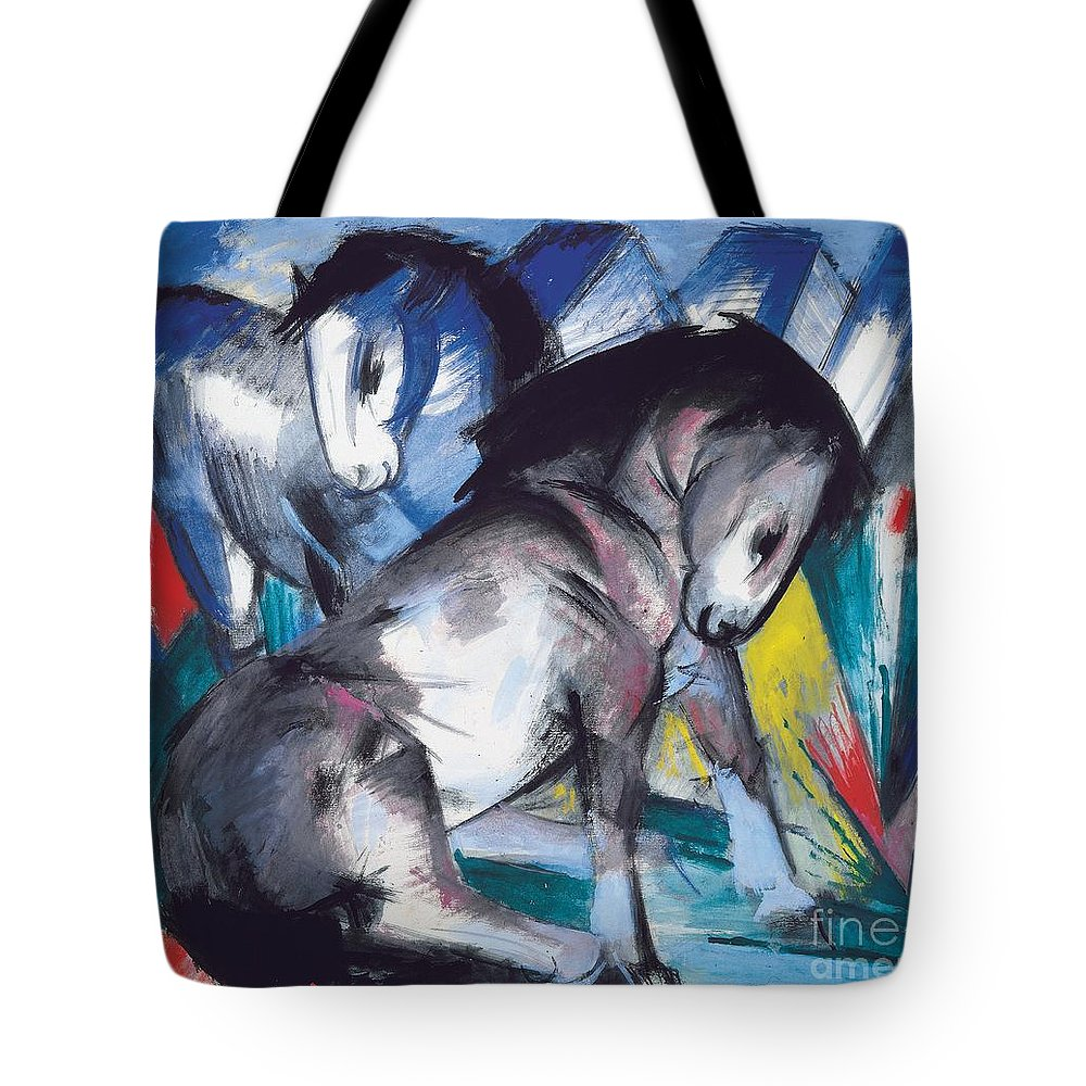 Blaue Reiter; Expressionist; German Expressionist; Two; 2; Horse; Horses; Animal; Animals; Futurist; Blue; Abstract; Dynamic; Bold; Colourful; Stylised; Angular; Farm Animal; Farm Animals Tote Bag featuring the painting Two Horses by Franz Marc