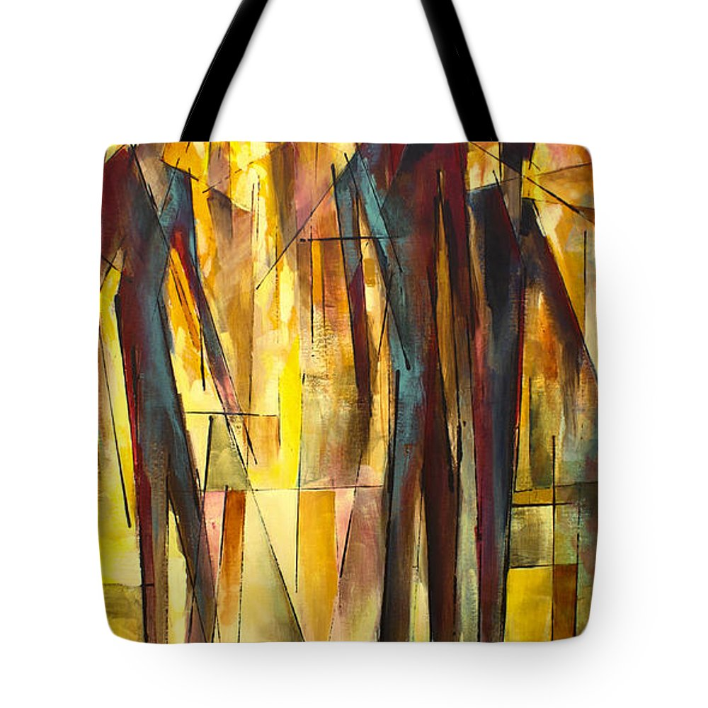 Figurative Tote Bag featuring the painting ' Untitled ' by Michael Lang