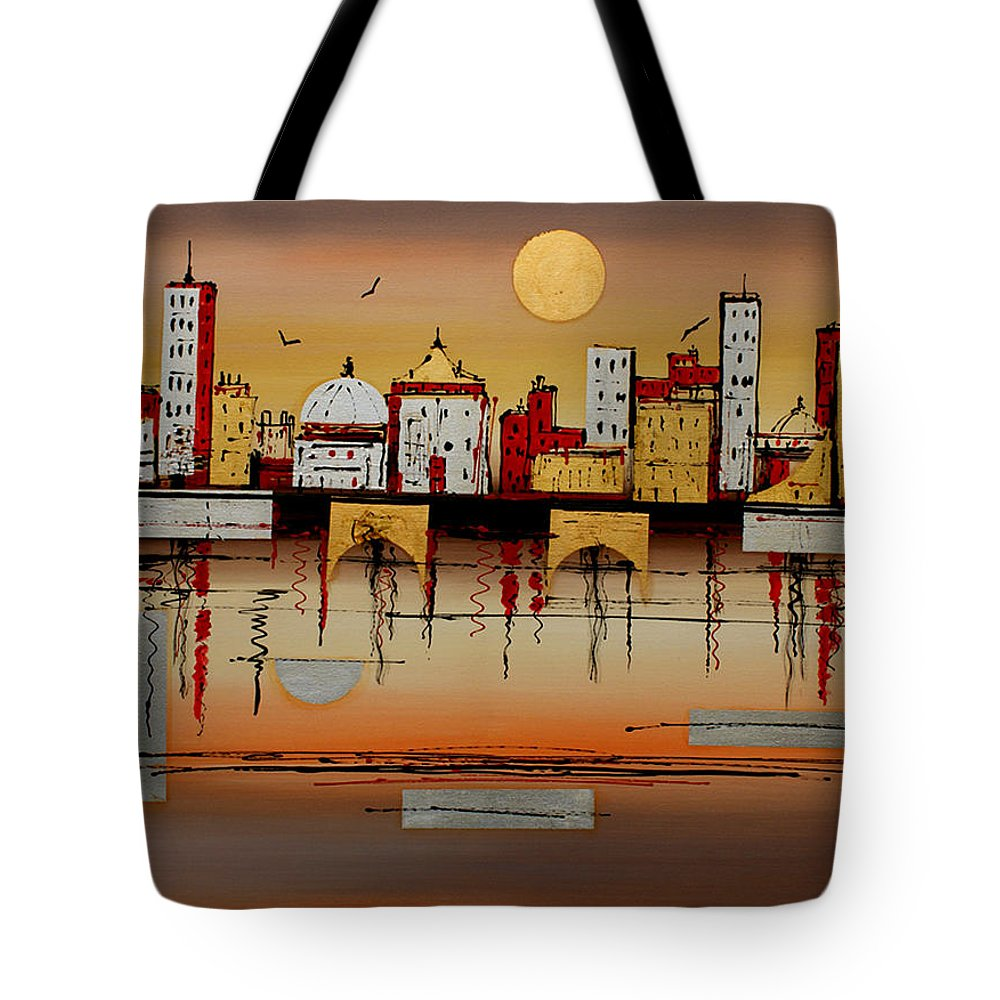 Abstract Tote Bag featuring the painting Urban Landscape by Miroslav Stojkovic - Miro