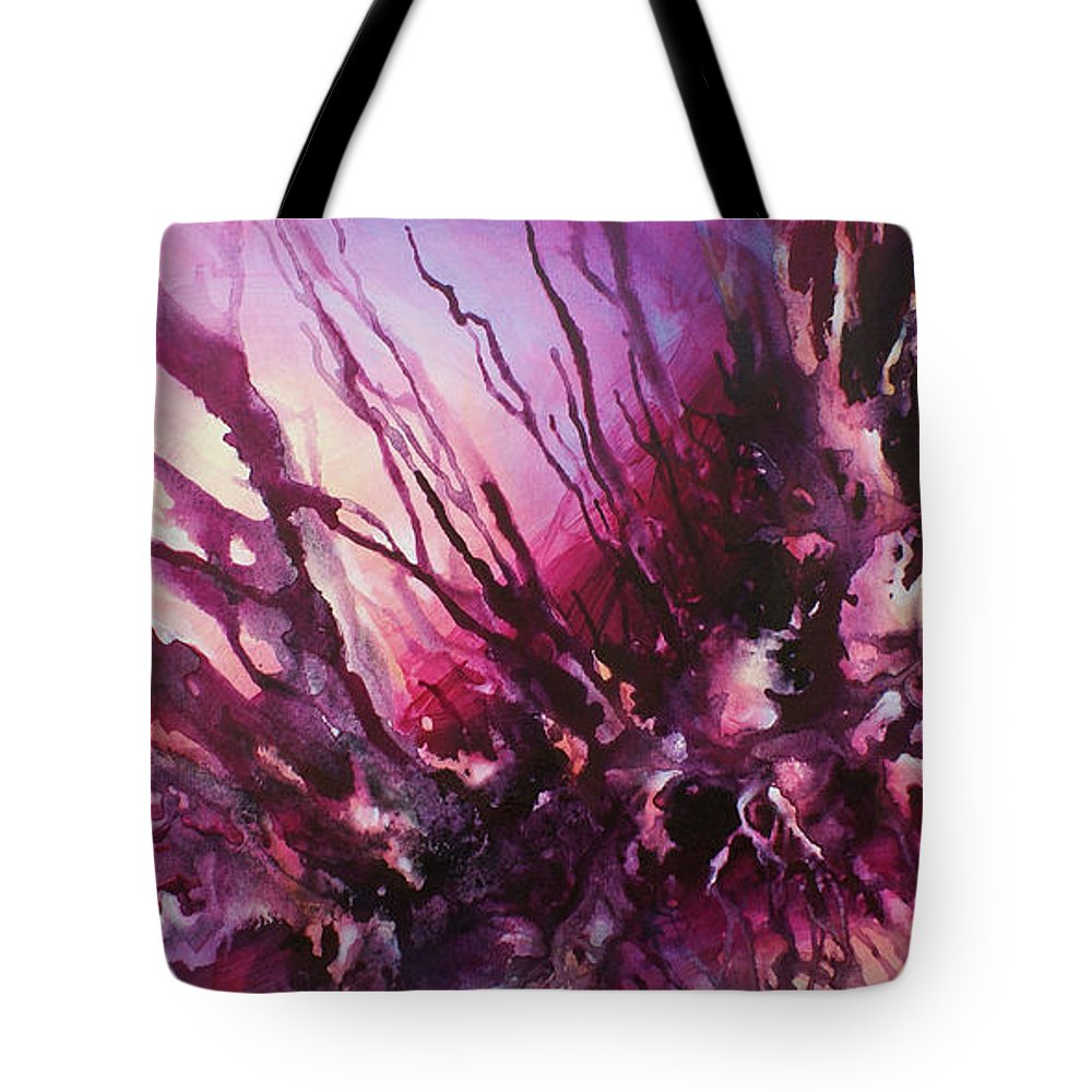 Abstract Tote Bag featuring the painting ' Visions 101' by Michael Lang