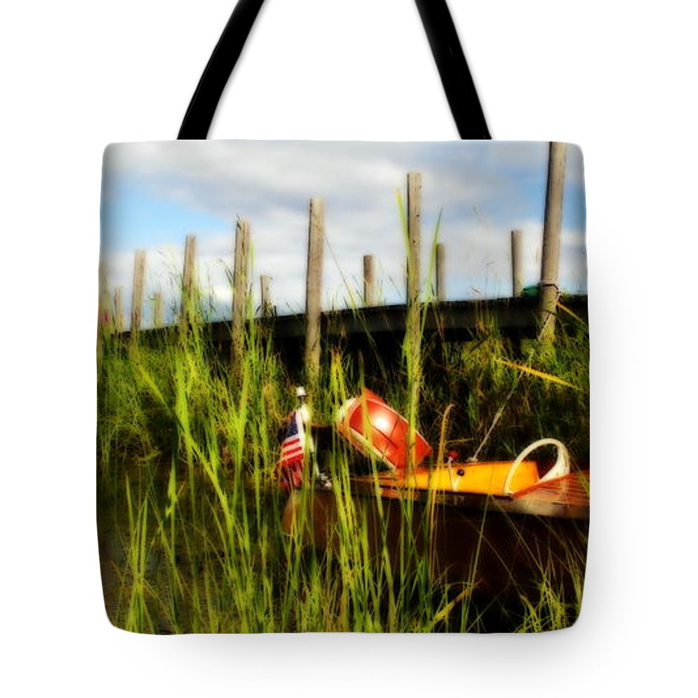 Great Lakes Tote Bag featuring the photograph Waiting Girl On Les Cheneaux by Marysue Ryan