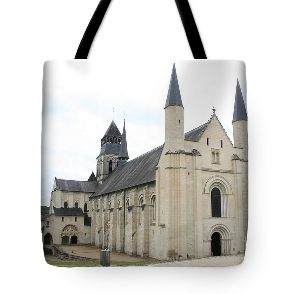 Cloister Tote Bag featuring the photograph West Facade Of The Church - Fontevraud Abbey by Christiane Schulze Art And Photography