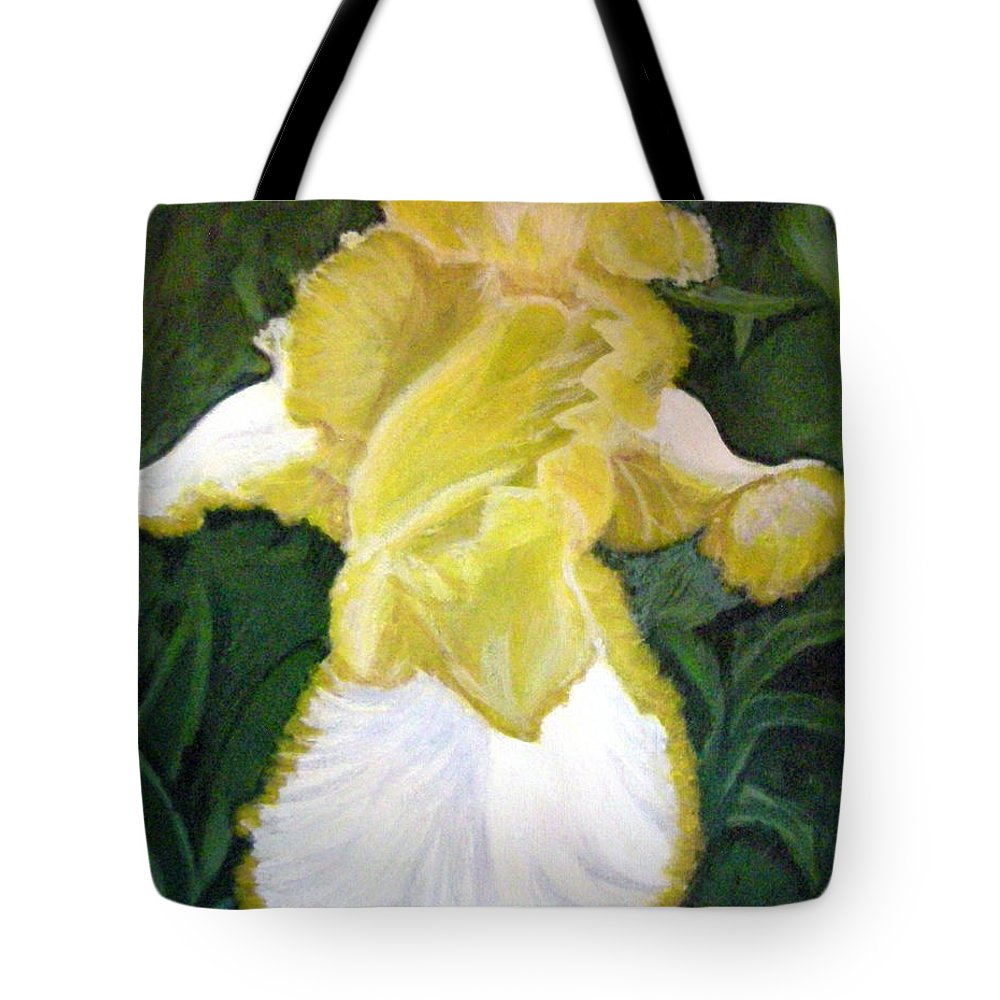 Angel Tote Bag featuring the painting Yellow Iris by Vera Lysenko