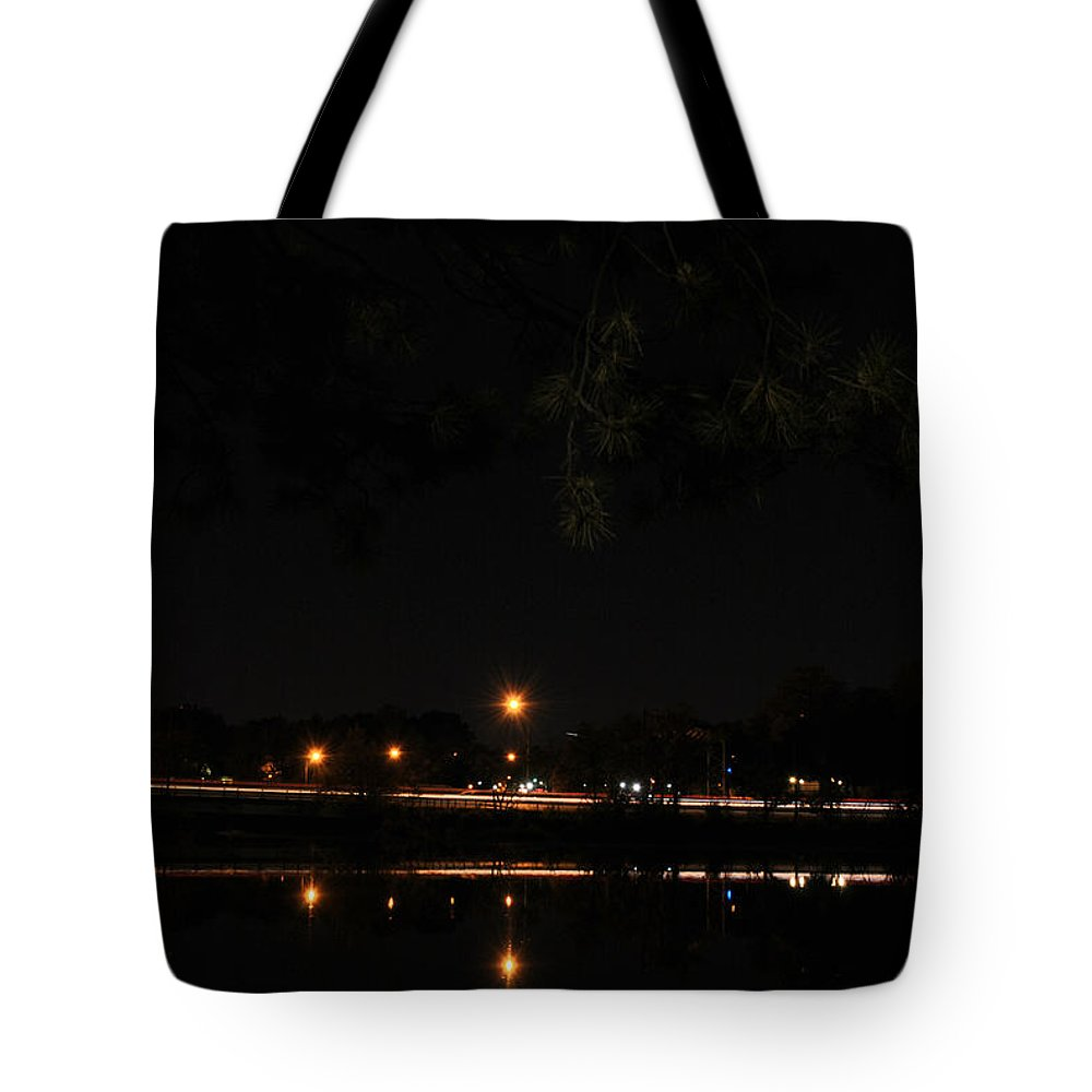 Garden Tote Bag featuring the photograph 001 Japanese Garden Autumn Nights  by Michael Frank Jr