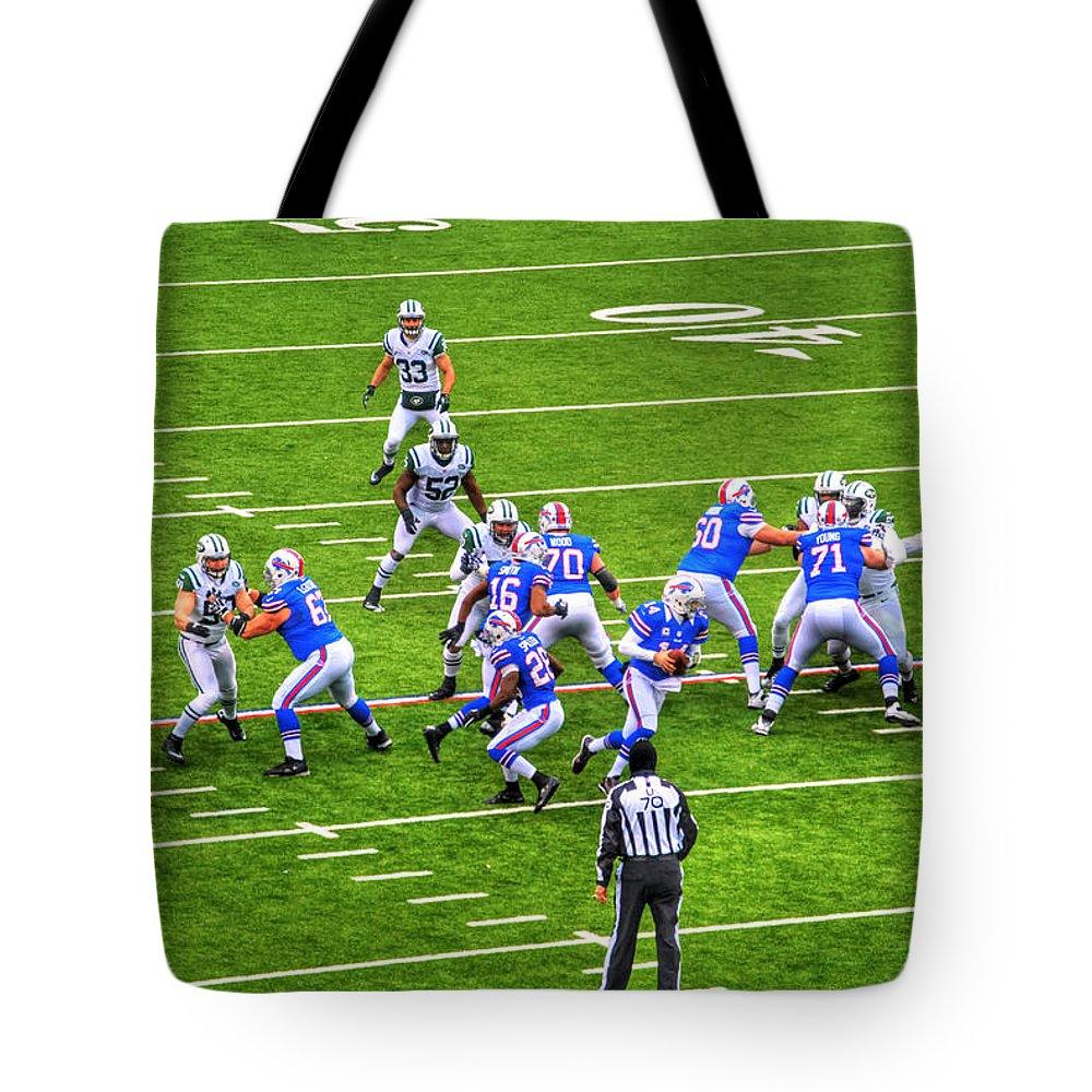 Buffalo Tote Bag featuring the photograph 0010 Buffalo Bills Vs Jets 30dec12 by Michael Frank Jr