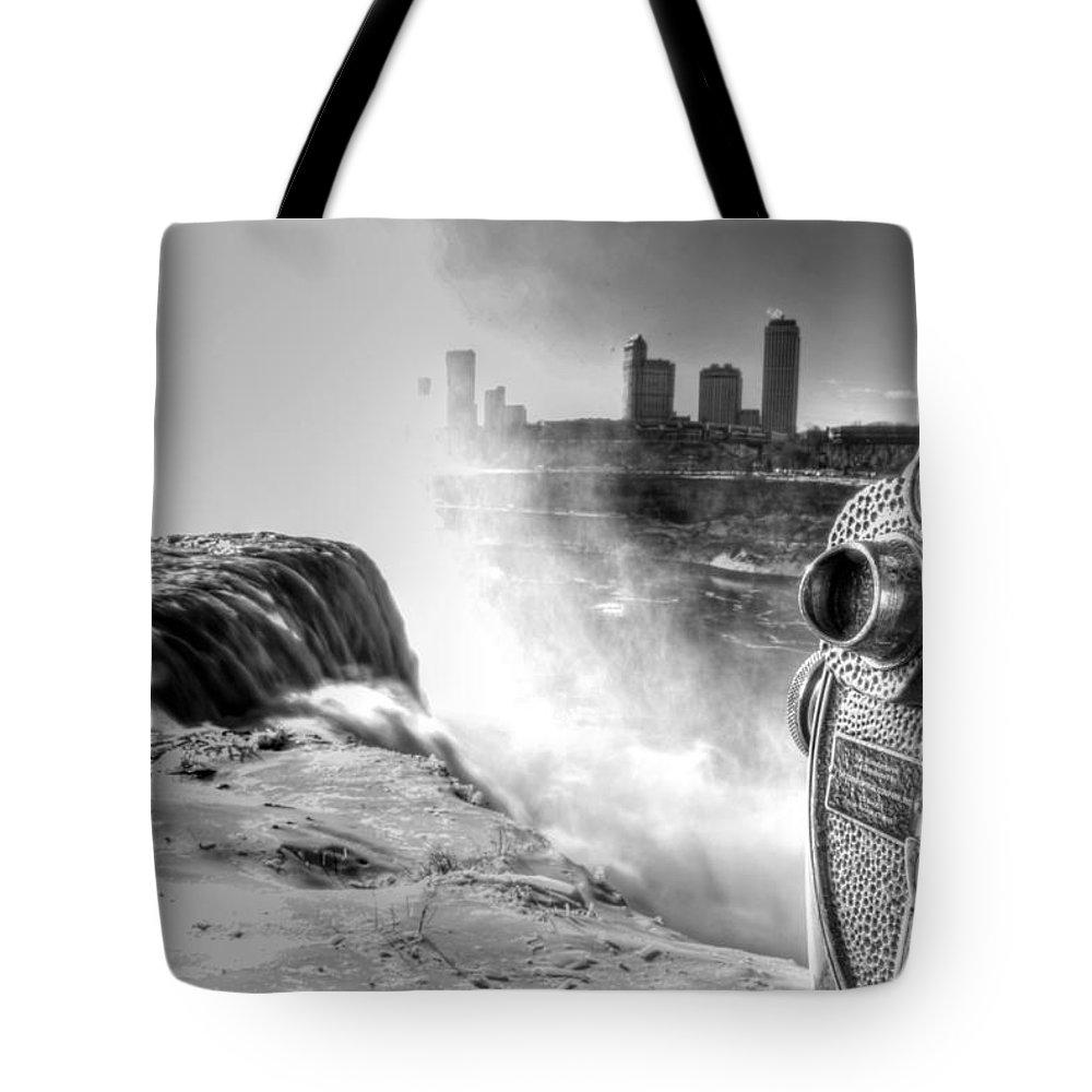Niagara Falls Tote Bag featuring the photograph 0014a Niagara Falls Winter Wonderland Series by Michael Frank Jr