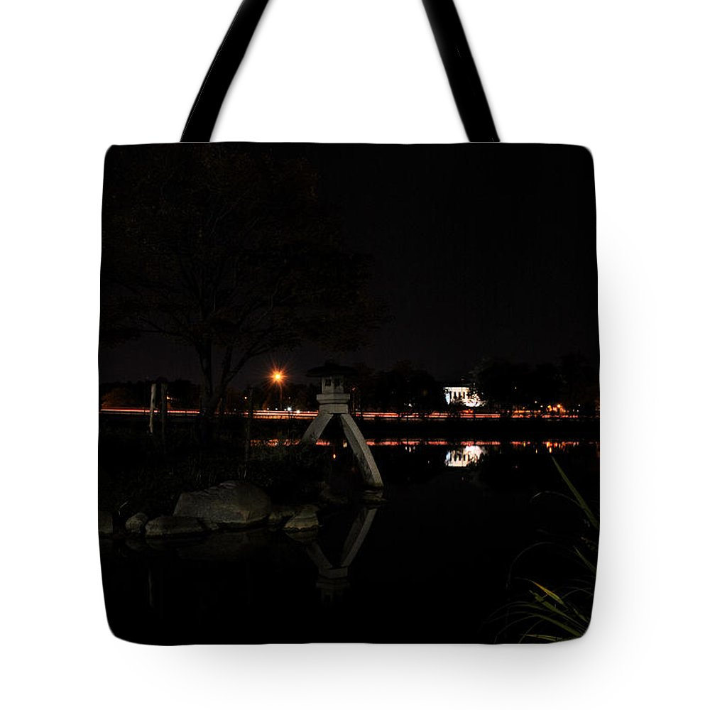 Garden Tote Bag featuring the photograph 003 Japanese Garden Autumn Nights  by Michael Frank Jr