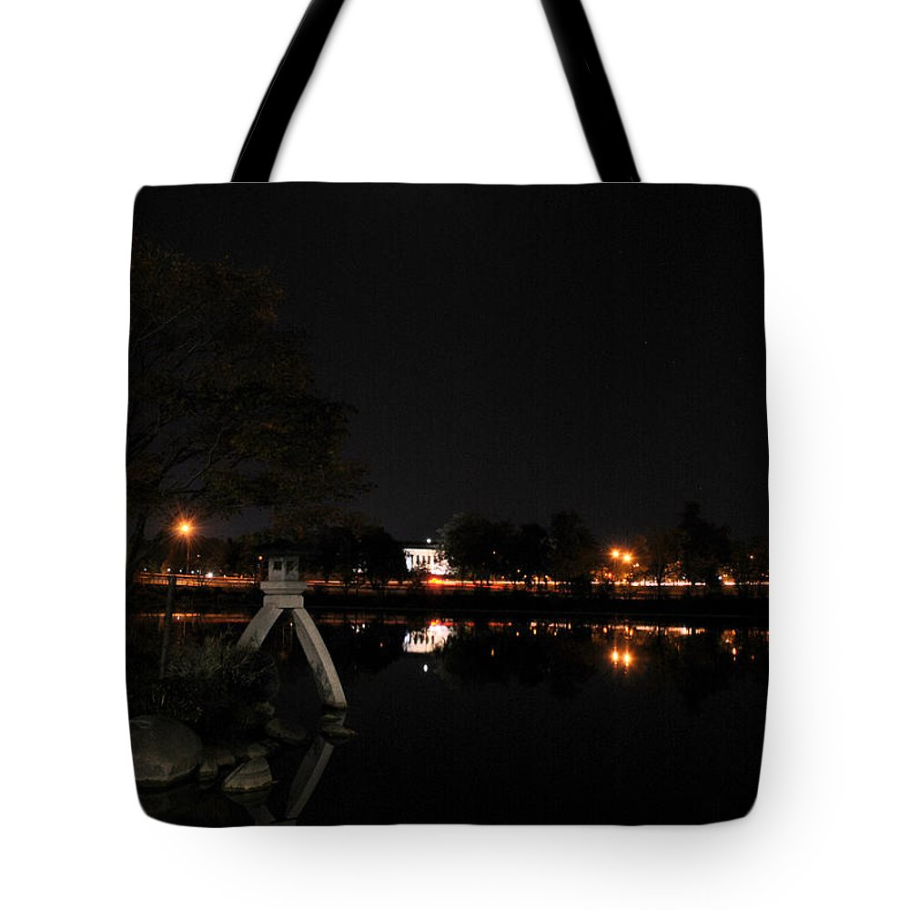Garden Tote Bag featuring the photograph 004 Japanese Garden Autumn Nights  by Michael Frank Jr