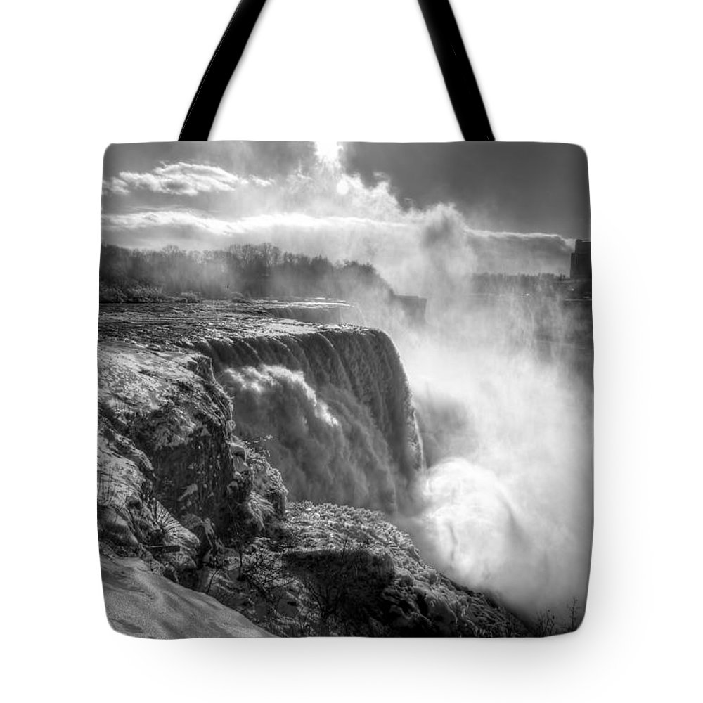Niagara Falls Tote Bag featuring the photograph 004a Niagara Falls Winter Wonderland Series by Michael Frank Jr