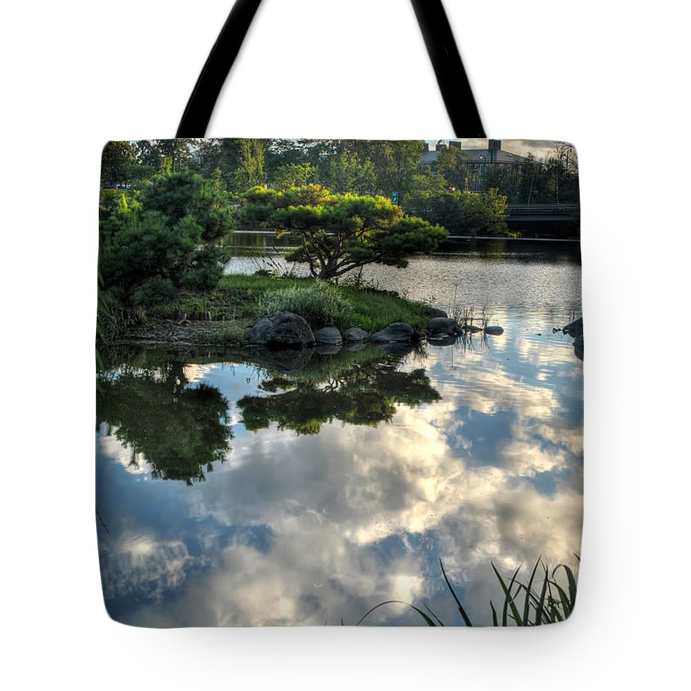 Garden Tote Bag featuring the photograph 007 Delaware Park Japanese Garden Mirror Lake Series by Michael Frank Jr
