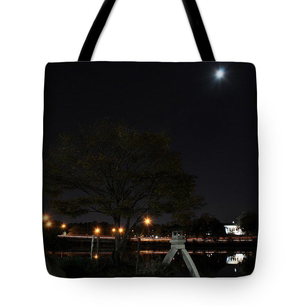 Garden Tote Bag featuring the photograph 008 Japanese Garden Autumn Nights  by Michael Frank Jr