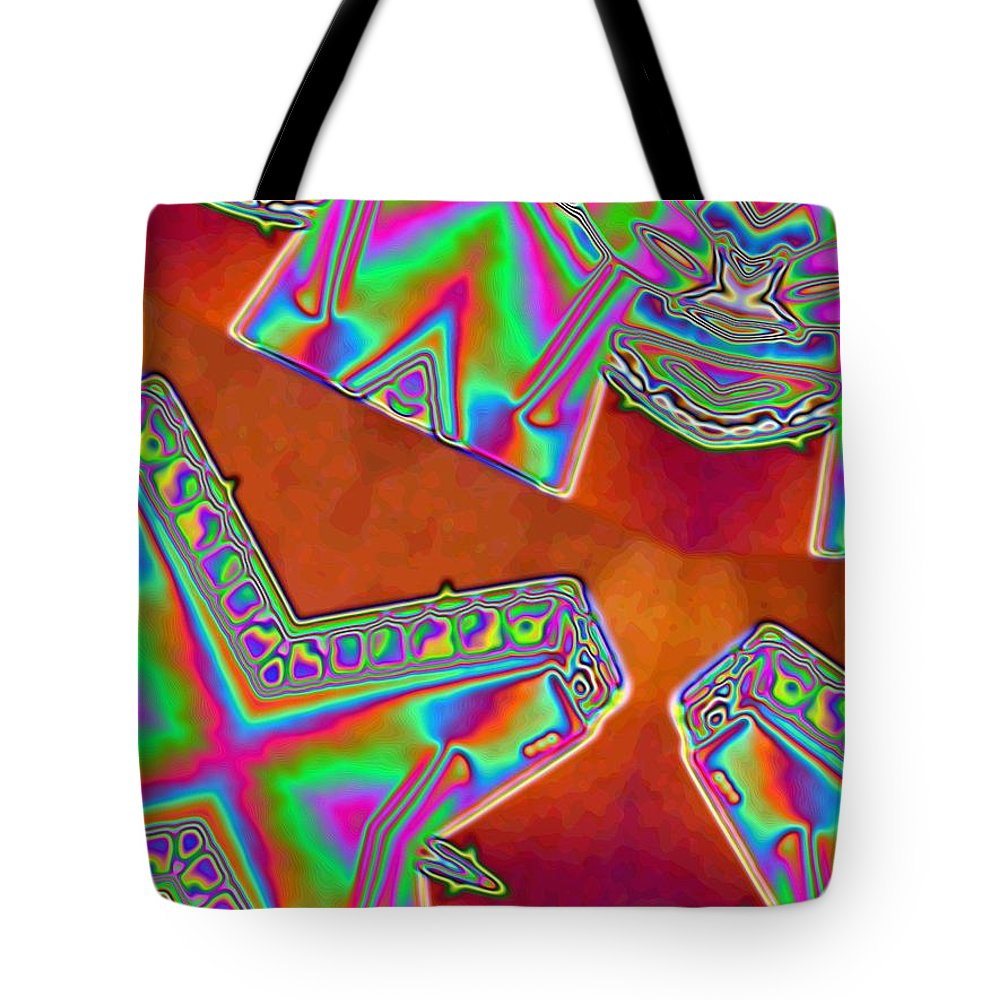 Red Tote Bag featuring the digital art 01-11-2014 by John Holfinger