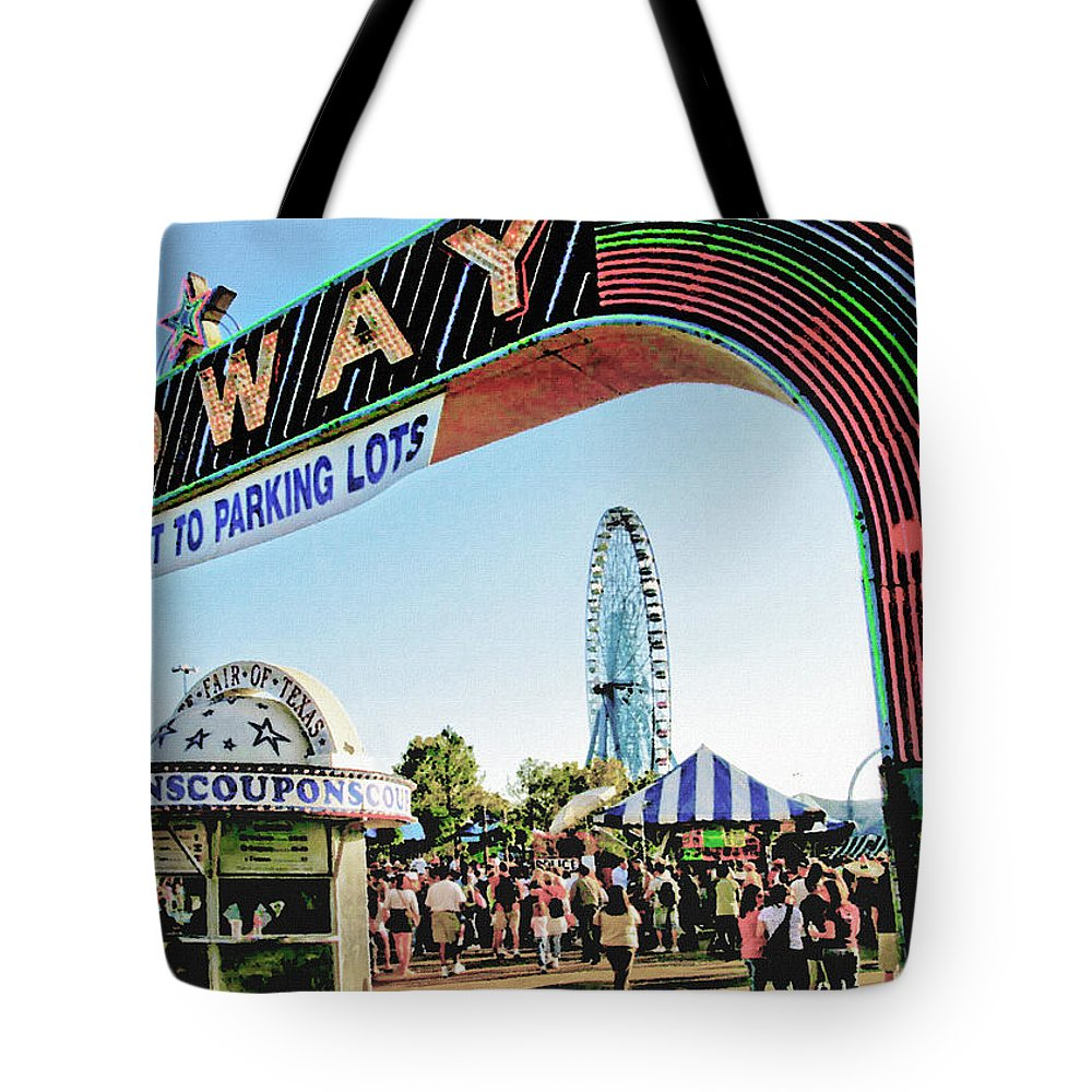 Carnival Tote Bag featuring the photograph Midway Fun And Excitement by David and Carol Kelly