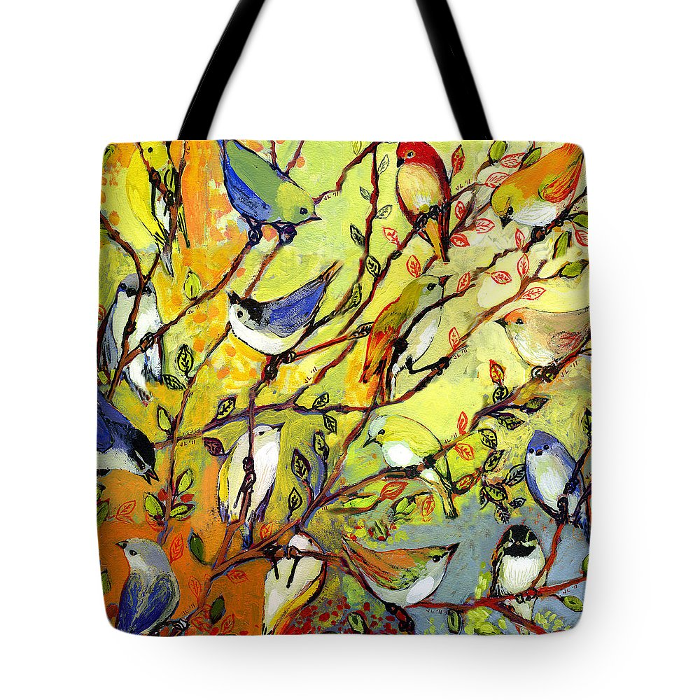 Bird Tote Bag featuring the painting 16 Birds by Jennifer Lommers