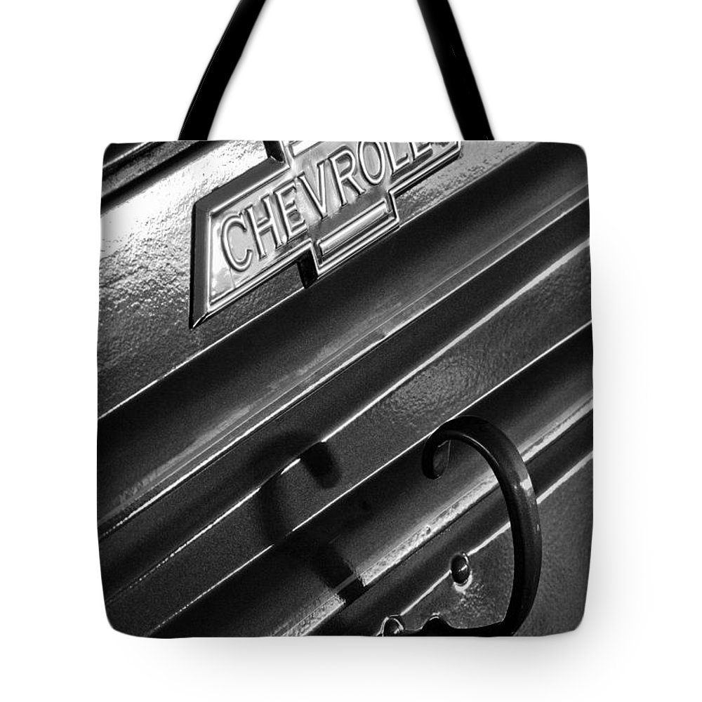 1937 Chevrolet Custom Pickup Emblem Tote Bag featuring the photograph 1937 Chevrolet Custom Pickup Emblem by Jill Reger
