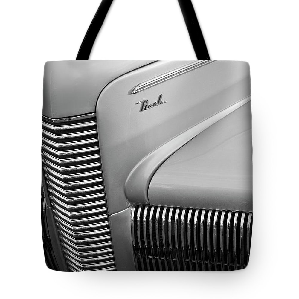 1940 Chevrolet Nash Tote Bag featuring the photograph 1940 Nash Grille by Jill Reger