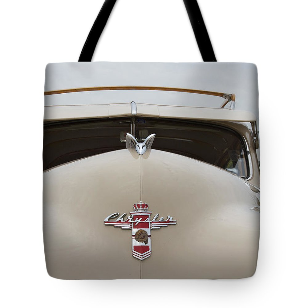 Antique Tote Bag featuring the photograph 1947 Chrysler by Jack R Perry