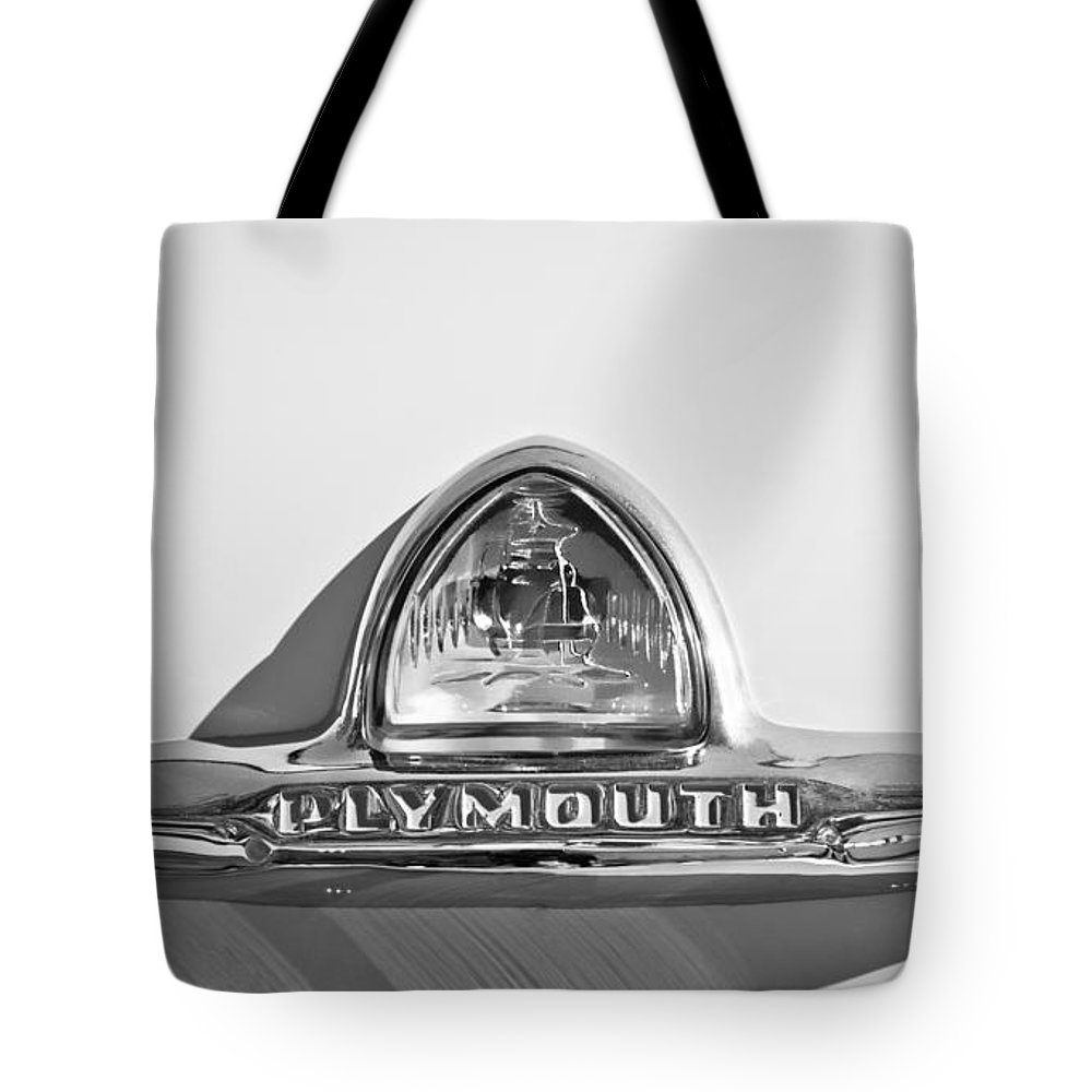 1948 Plymouth Deluxe Emblem Tote Bag featuring the photograph 1948 Plymouth Deluxe Emblem by Jill Reger