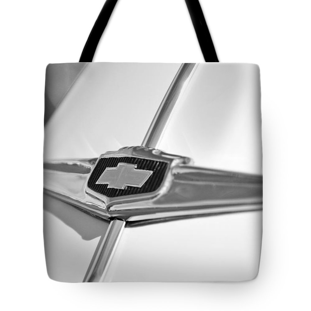 1949 Chevrolet Sedan Hood Emblem Tote Bag featuring the photograph 1949 Chevrolet Sedan Hood Emblem by Jill Reger