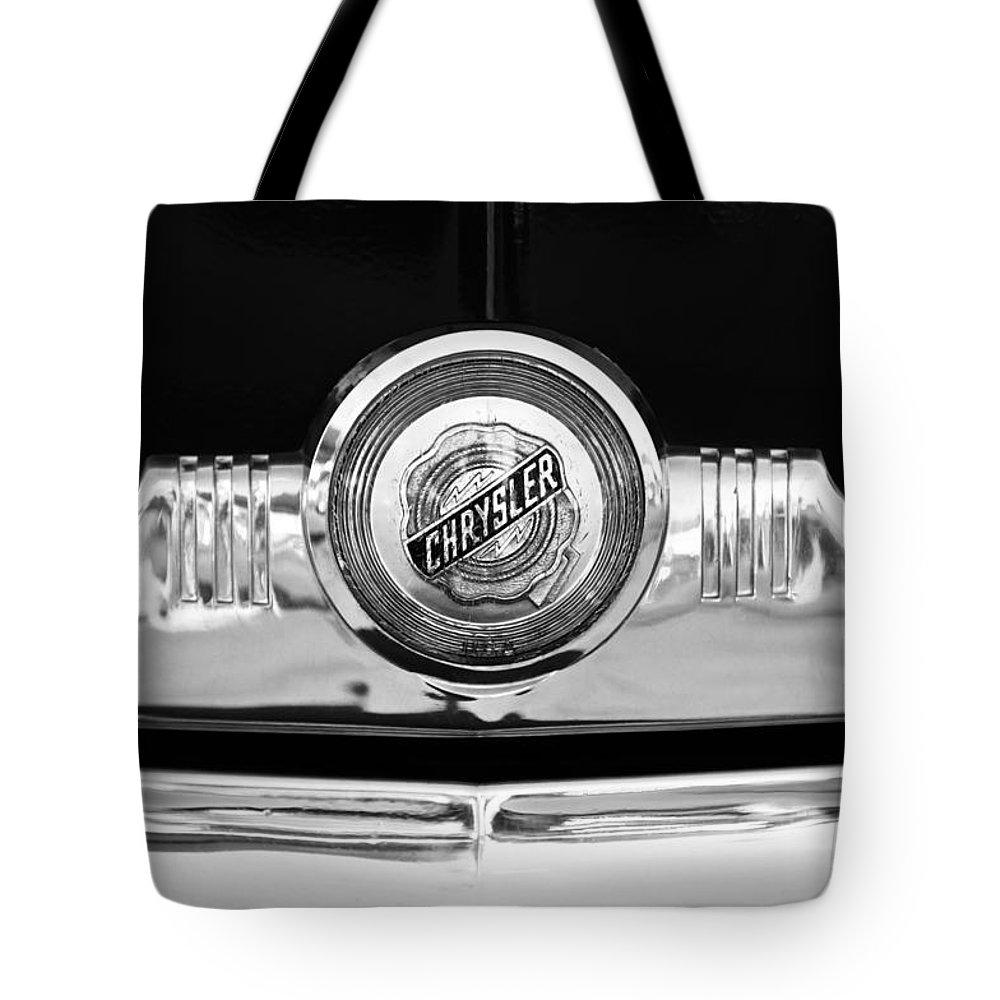 1949 Chrysler Windsor Grille Emblem Tote Bag featuring the photograph 1949 Chrysler Windsor Grille Emblem by Jill Reger