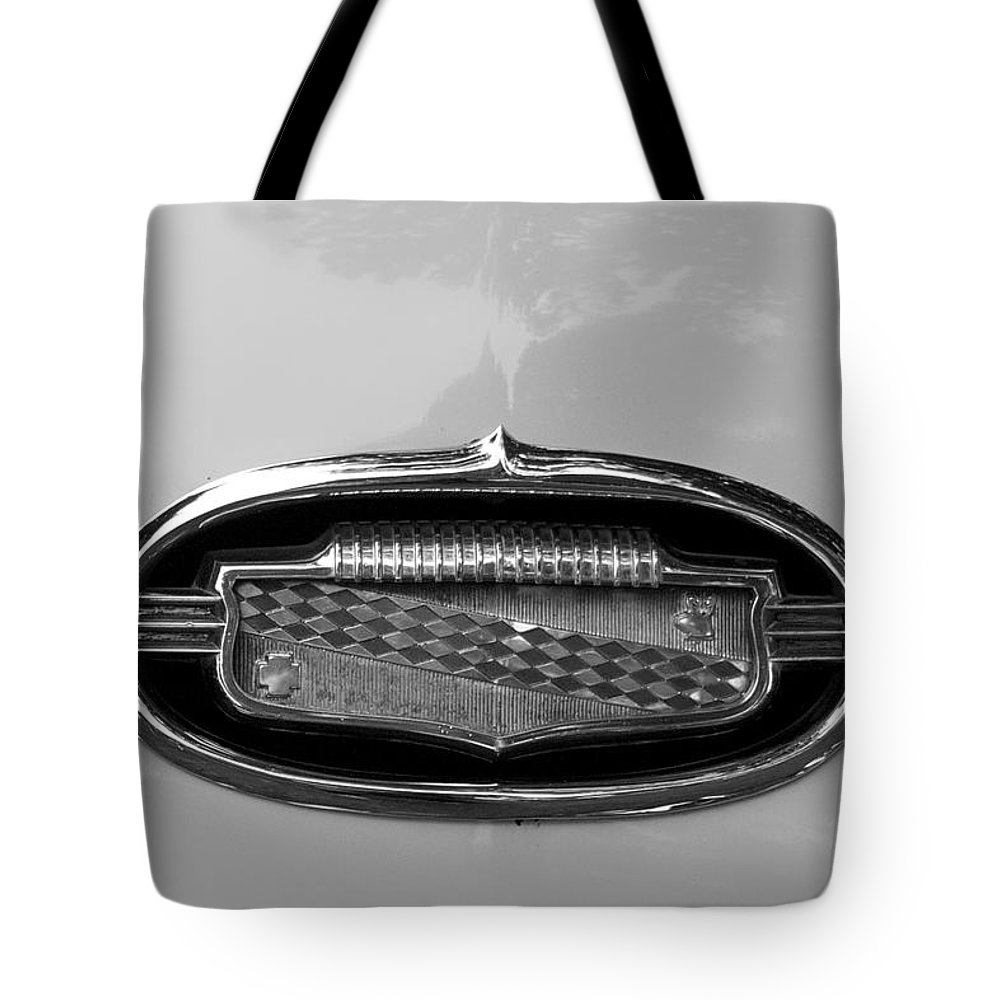 1952 Buick Eight Photographs Tote Bag featuring the photograph 1952 Buick Eight Emblem by Brooke Roby