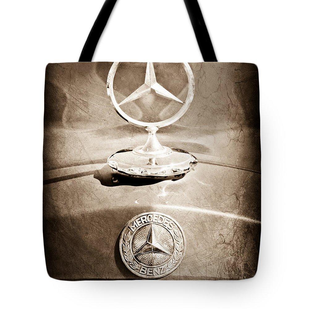 1953 Mercedes Benz Hood Ornament Tote Bag featuring the photograph 1953 Mercedes Benz Hood Ornament by Jill Reger