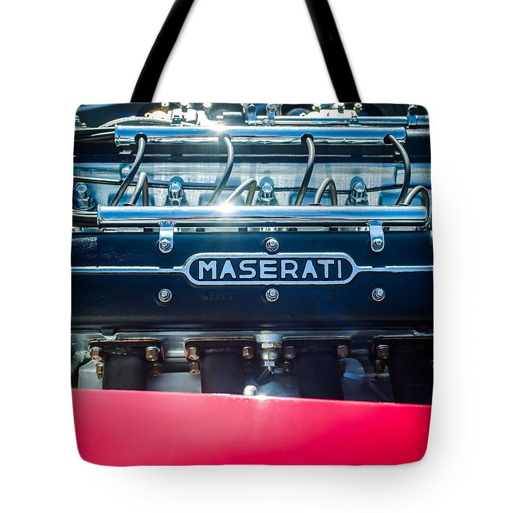 1956 Maserati 150s Engine Emblem Tote Bag featuring the photograph 1956 Maserati 150s Engine Emblem by Jill Reger