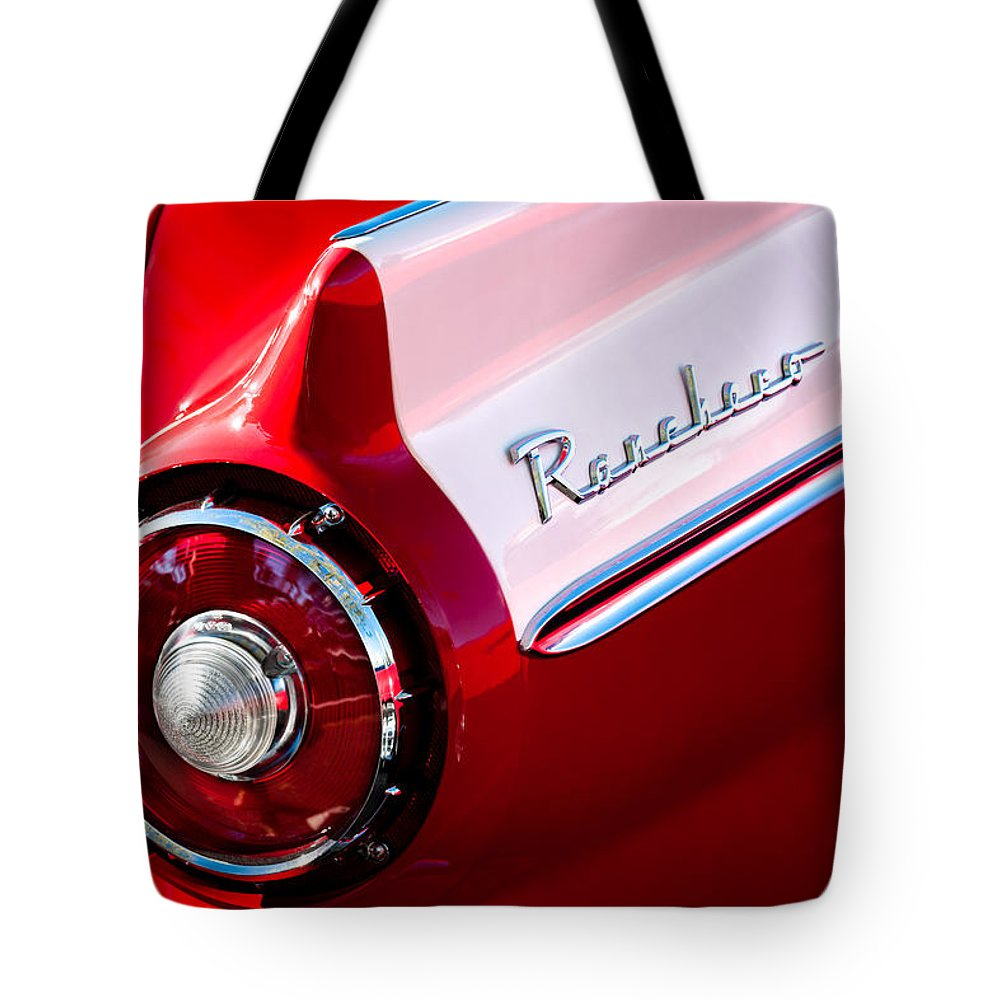 1957 Ford Custom 300 Series Ranchero Taillight Emblem Tote Bag featuring the photograph 1957 Ford Custom 300 Series Ranchero Taillight Emblem by Jill Reger
