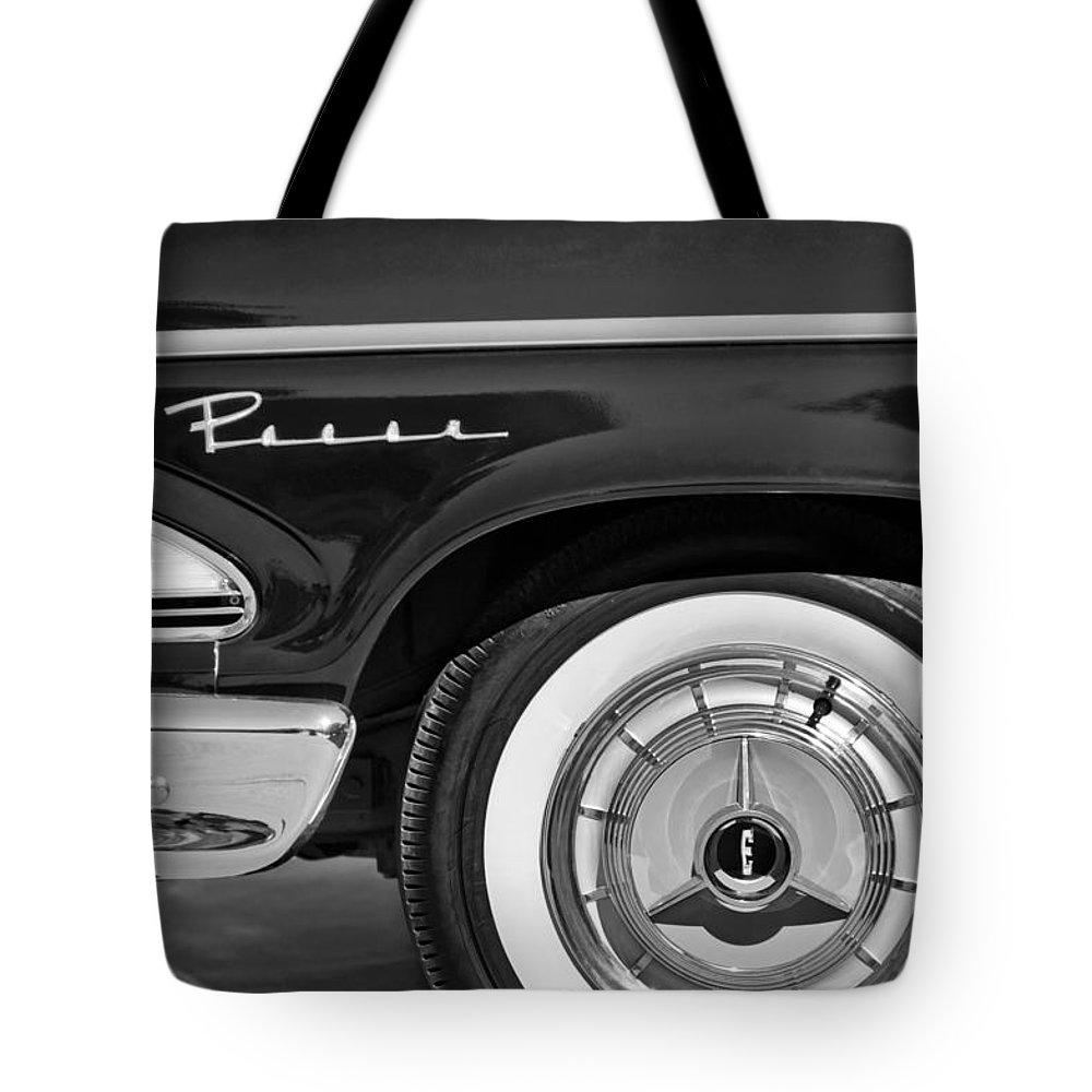 1958 Edsel Pacer Wheel Emblem Tote Bag featuring the photograph 1958 Edsel Pacer Wheel Emblem by Jill Reger